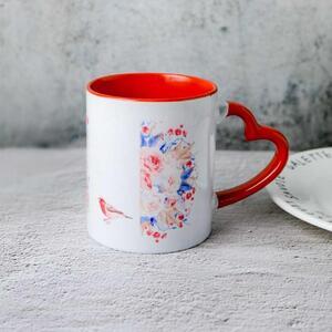心形手柄陶瓷杯, 12oz