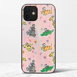 廢物貓貓騎乘系列(粉色)iPhone 12 mini 極光鋼化玻璃殼