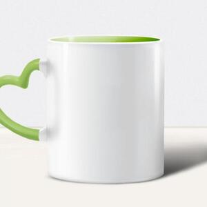Heart-shaped Handle Inner Color Ceramic Cup,12oz
