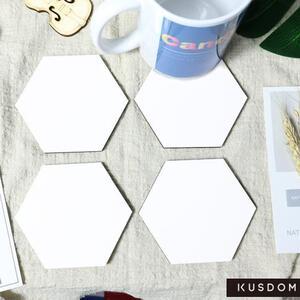 六角形水松木杯垫 (4件装)