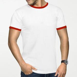 男裝棉質彩邊圓領T恤