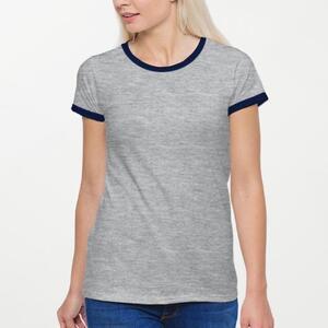 女装棉质彩边圆领T恤