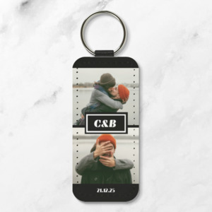 Photo Collage Leather Keychain - Rectangle