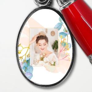 사진 추가볼펜 열쇠고리 - 타원형
