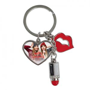Upload Your Photo Lips with Lipstick Keychain - Heart