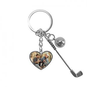 Photo Collage Golf Keychain - Heart