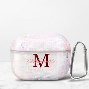 Name Monogram AirPods Pro Quicksand Case with Carabiner
