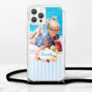Personalized Photo iPhone 12 Pro Clear TPU Soft Case with Lanyard