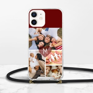 Collage iPhone 12 Clear Acrylic Hard Case with Lanyard