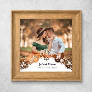 커스텀 사진Nordic Style Wood Grain Photo Frame Art Print 10'' x 10''