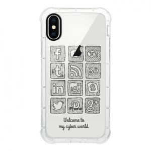 텍스트 추가iPhone X Clear 범퍼 케이스 (검은 색 조리개)
