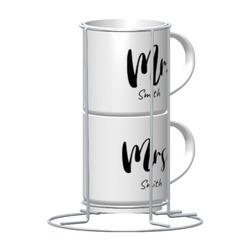 2-Cups Set with Metal stand, 9oz