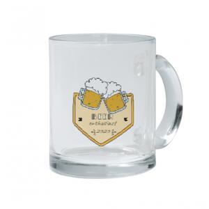 Custom Text Clear Glass Mug, 12oz