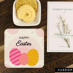 客製文字方形皮杯墊-復活節彩蛋