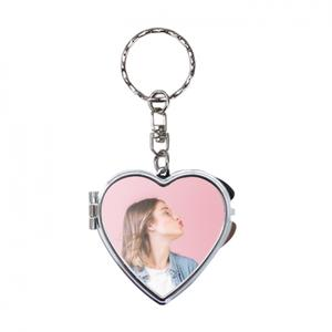 Add Your Photo Compact Keychain Mirror - Heart