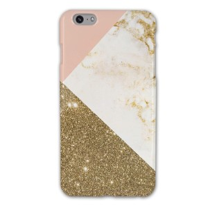 iPhone 6/6s Plus White Marble with Glitter Glossy Case