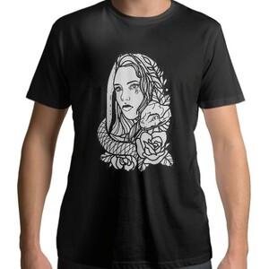 DreamFighter SnakeGirl Men 's Cotton Round T - shirt (Black)