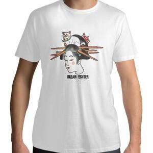Dream Fighter Japan women-Men 's Cotton Round Neck T - shirt (White)