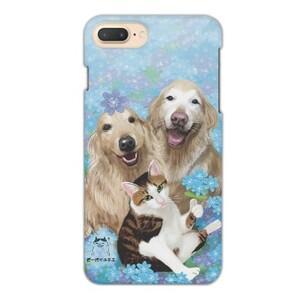 藍色小花下的狗與貓  iPhone 7 Plus Glossy Case