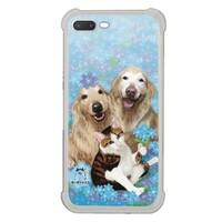 藍色小花下的狗與貓 iPhone 7 Plus Transparent Bumper Case