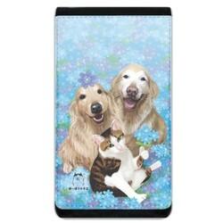 藍色小花下的狗與貓手機袋錢包 (Lanyard Phone Case Wallet)
