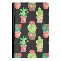 Cactus PU Leather Passport Holder