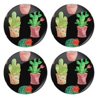 Cactus Round Glass Coasters (4Pcs)