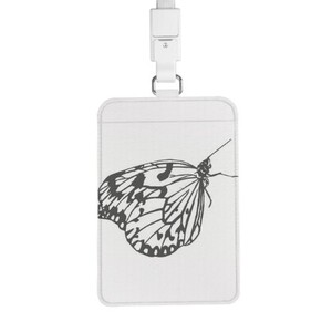 butterfly PU Leather Card Holder with Lanyard