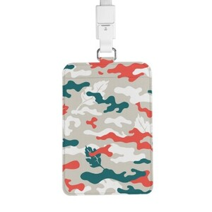 Camouflage PU Leather Card Holder with Lanyard