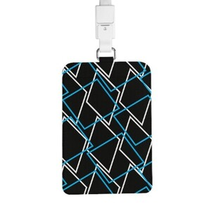 Geometric AE33 PU Leather Card Holder with Lanyard