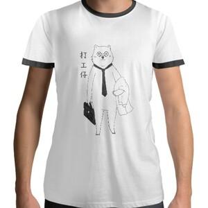 打工仔 Men 's Cotton Black Round Neck T - shirt