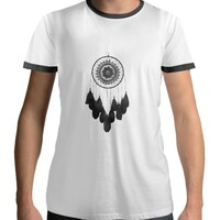 dreamcatcher Men 's Cotton Black Round Neck T - shirt