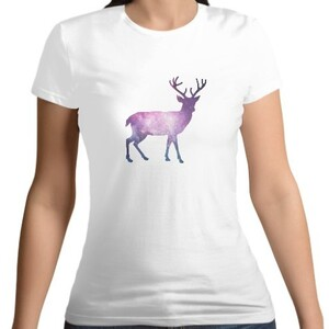 Reindeer Women 's Cotton Round Neck T - shirt