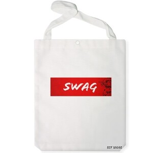 White Jumbo Tote Red SWAG Bag