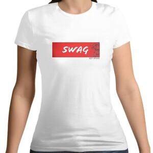 White Women 's Cotton Round Neck Red SWAG T - shirt
