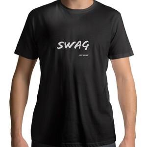 Black Men 's Cotton Round Neck White SWAG T - shirt