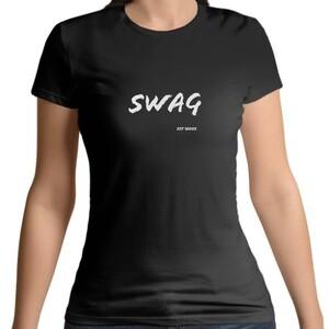 Black Women 's Cotton Round Neck White SWAG T - shirt