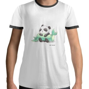 Panda CTN Men 's Cotton Black Round Neck T - shirt 101