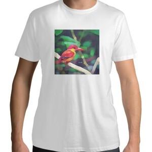 男裝棉質圓領T恤 - 三趾翠鳥