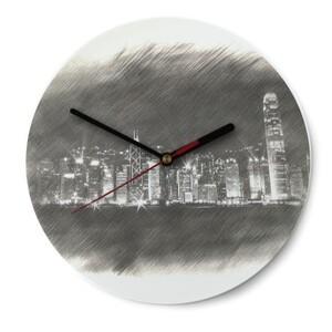 SketchHongKong_Victoria Harbour Round Glass Wall Clock (Gloss Surface)