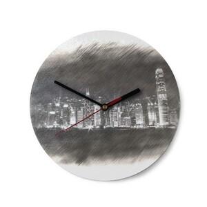 SketchHongKong_Victoria Harbour Round Glass Wall Clock (Texture Surface)
