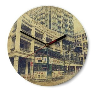 SketchHongKong_Wan Chai Round Glass Wall Clock (Gloss Surface)