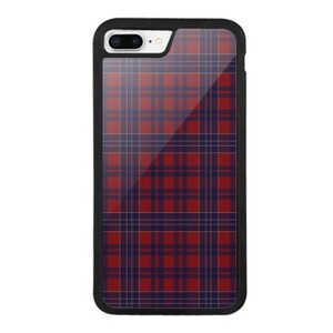 iPhone 8 Plus Bumper Case//red-navy checked pattern