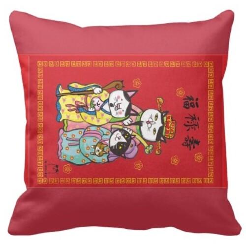 福祿壽貓抱枕 3cat Rectangle Framed Throw Pillow 16