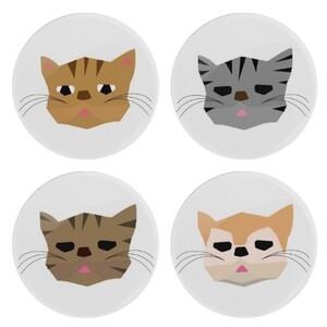 Lazy Cat懶貓圓形杯墊 四種花色組合Round Glass Coasters (4Pcs)