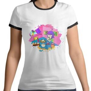 女裝棉質彩邊圓領T恤