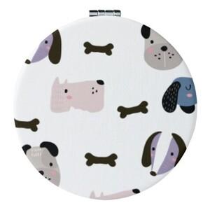 Round Imitation Leather Compact Mirror