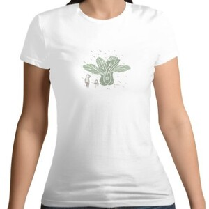 餐桌小旅行-青江菜  /  Women 's Cotton Round Neck T - shirt