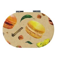 Oval Imitation Leather Compact Mirror