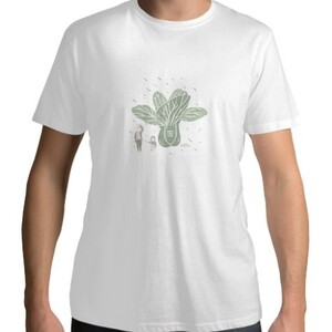 餐桌小旅行-青江菜  /  Men 's Cotton Round Neck T - shirt